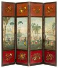 Fine George IV Painted Four Panel Screen Ca. 1825