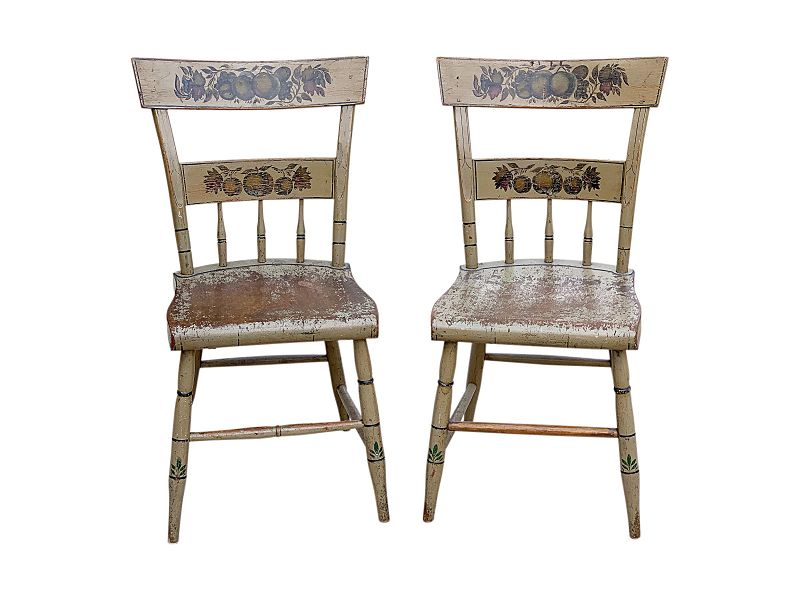 Pair of Federal Painted Plank Seat Side chairs, PA, Circa 1835