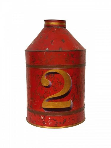 English Tole Red Painted Tea Canister, 19th C.