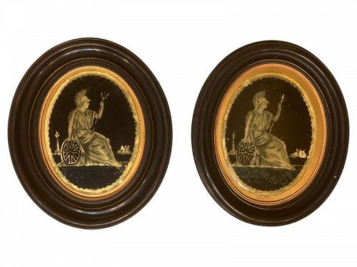Pair of Framed Oval Eglomise Panels of Classical Figures, late 19th C