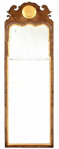 English Queen Anne Walnut and Parcel Gilt Mirror, Ca. 1725