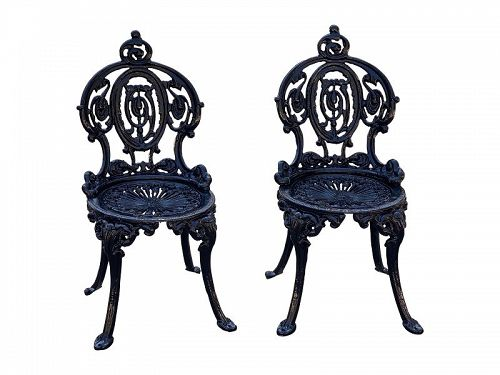 Pair of Cast Iron Side Chairs, NYC, late 19th C.