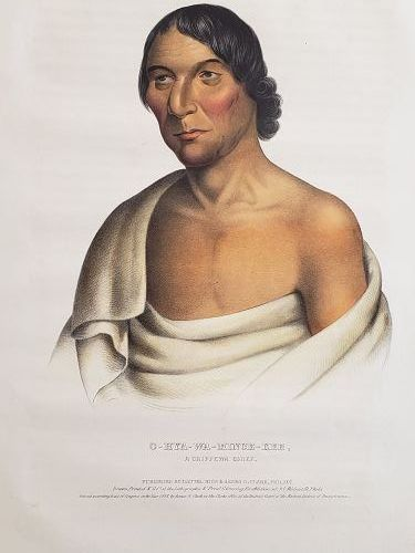"""Yellow Thunder"" a Chippewa Chief Lithograph Portrait by McKenney"