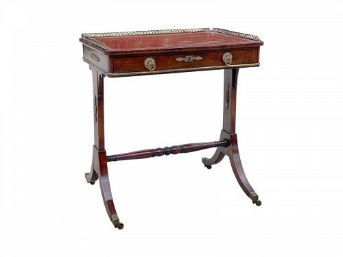 Fine Regency Mahogany and Bronze Mounted Writing Table, circa 1815