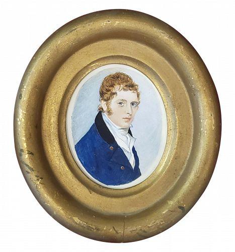 American School Portrait Miniature, circa 1840