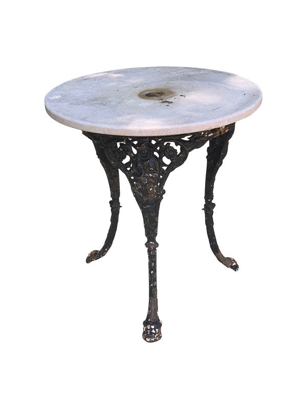 Cast Iron Pub Table with Marble Top.
