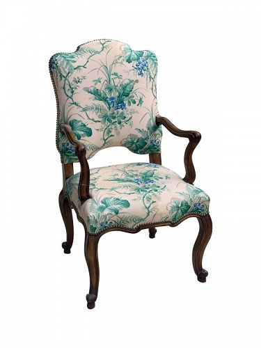 French Provincial Beechwood Open Armchair, early 20th C.