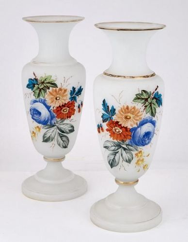 Pair of Painted Glass Vases, likely French, circa 1920 and older.