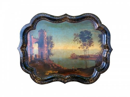 English Papier Mache Tray with Chippendale Rim, Ca. 1850
