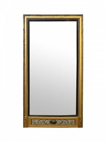 George III Pier Mirror with Eglomise Panel, circa 1790-1810
