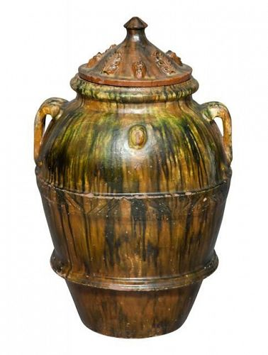 Terracota Green and Brown Glaze Large Covered Garden Jar, 20th C.