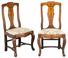 Pair of Dutch Marquetry Inlaid Baroque Side Chairs.