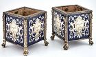 Pair of Renaissance Style Enamel and Silver Plated Cache Pots, 19th C