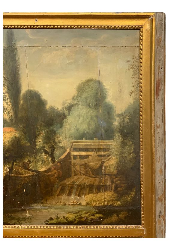 Louis XVI-Style Parcel Gilt Trumeau Mirror, early 19th C
