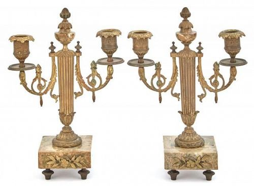 Pair Of Louis XVI Style Ormolu and Marble Candelabrum, late 19th C.