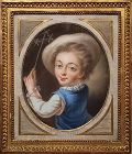 French School Pastel Portrait of a Boy, 18th C.