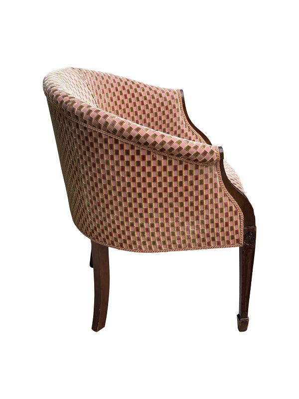 George III-Style Mahogany Upholstered Tub Chair, early 20th C.