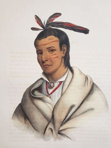"""Wooden Ladle"" A Winnebago Brave Lithograph Portrait by McKenney"