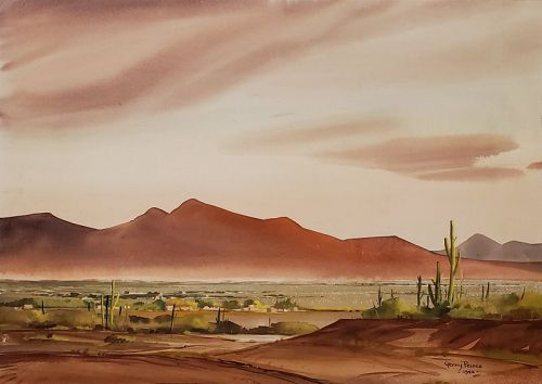 Arizona Desert Watercolor by Gerry Peirce, American 1900-1962