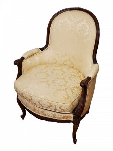 Louis XV-Style Walnut Upholstered Bergere, 19th C in 18th C style