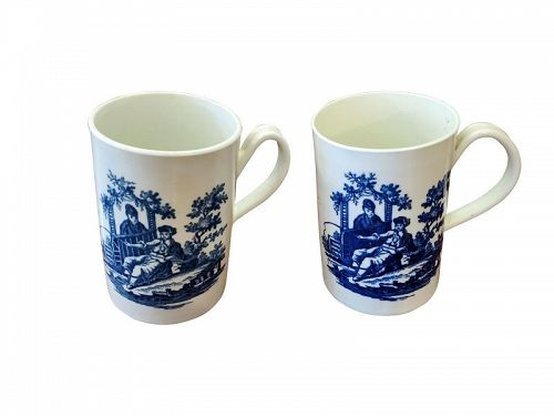 Pair of Worcester Porcelain Tankards Chinoiserie, Dr. Wall  1780