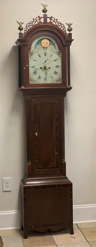 Federal Mahogany Tall-Case Clock, North Shore Mass,, circa 1810