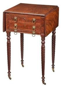 Federal Mahogany Drop Leaf Stand, Boston, circa 1815-20
