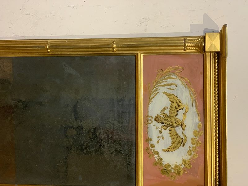 Federal Giltwood Mirror with Eagle Eglomise Panel, early 19th C