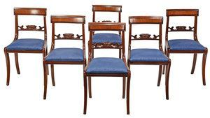 Set of Six Federal Mahogany Dining Chairs, NY, Circa 1815