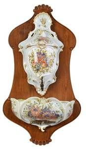 Continental Porcelain Lavabo with Walnut back late 19th C.
