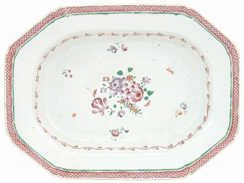 Chinese Export Porcelain Platter with Polychromed Enamels late 18th C
