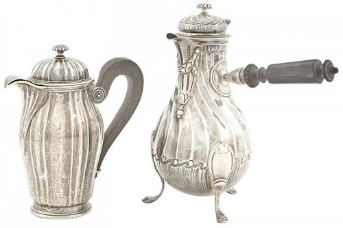French Silver Demitasse Pot and Covered Milk Jug, 19th C.