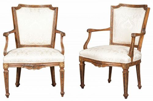 Pair of Italian Paint Decorated open Armchairs, late 18th C.
