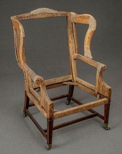George III Mahogany Upholstered Wing Chair, Circa 1790-1800
