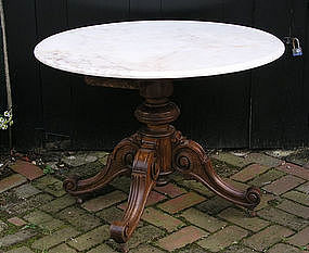French Oak Marble Top Table, 3rd Q 19th Century