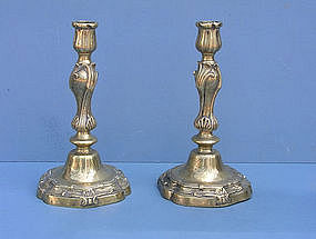 Pair of Louis XV Bronze Candlesticks, 18th C