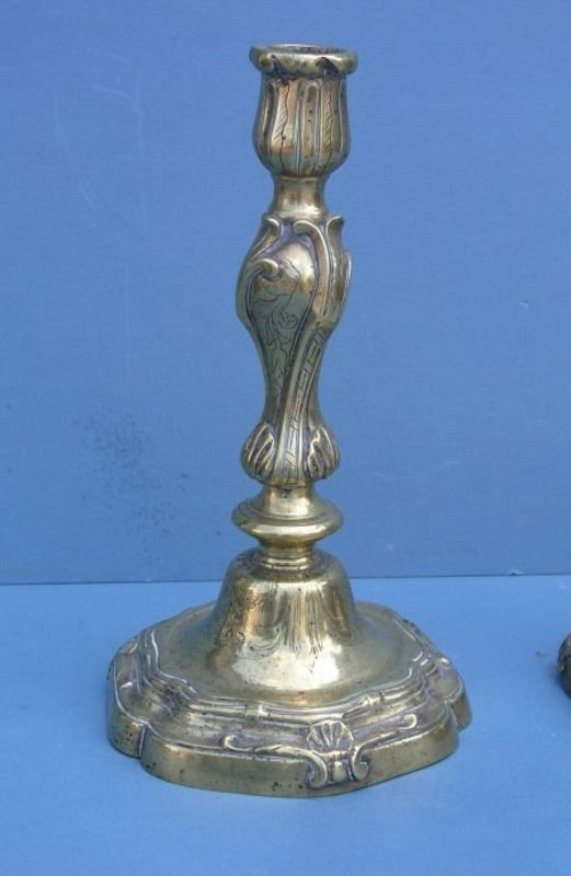 Pair of Louis XV Bronze Candlesticks, 18th C