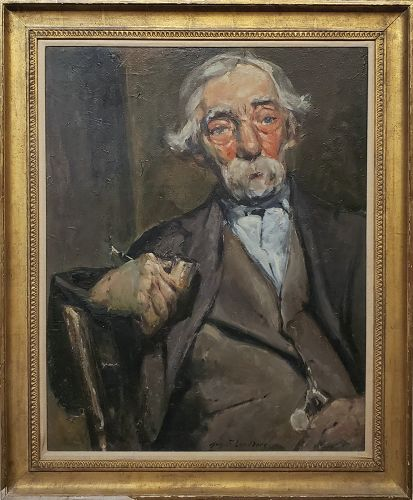 Old Man With A Pipe a Portrait Oil Painting by August F. Lundberg