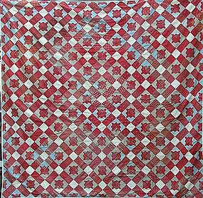 American Pieced Cotton Quilt Top, dated 1845