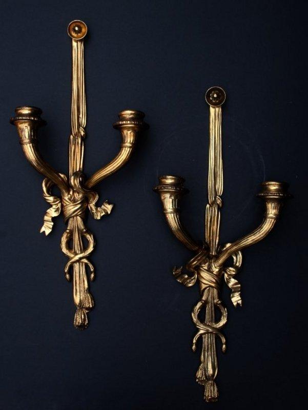 Pair of Louis XVI-Style Ormolu Sconces
