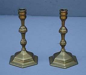 Pair of French Brass Candlesticks, 18th C.
