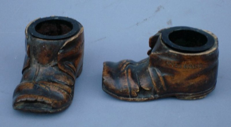 Pair of Treen Ornamental Shoes, Italian, 19thC