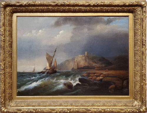 Ships Sailing Storm Waters Signed by George Robert Bonfield