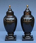 Pair of Porphry Covered Urns, Modern