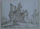 Italian School Drawing, 18th C, Roman Ruins