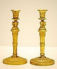 Pair of Gilt-Bronze Empire-style Candlesticks