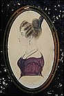 British School Watercolor Profile of  Woman, circa 1840