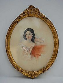 English School Watercolor of Woman, signed, dated 1834