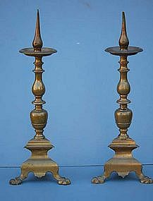 Pair of Continental Brass Pricket Candlesticks, 17th C