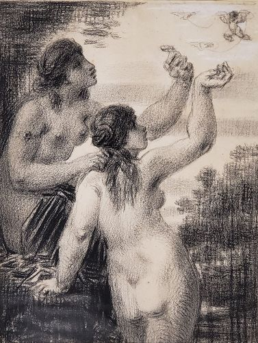 Drawing of Two Women Chasing A Cherub by William Perkins Babcock